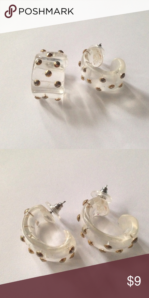 Clear Plastic Stud Earrings Cool Vintage With Gold Studs Used To Be Clip On S And I Turned Them Into Posts Jewelry