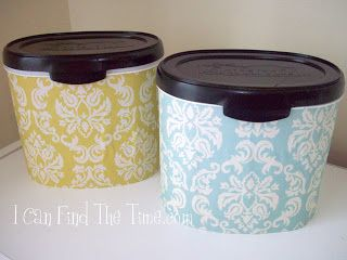 Turn a used baby formula tub into a cute storage container Names