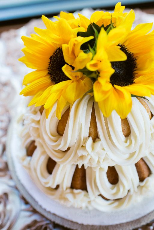 Love the sunflowers on the bundt cake. Such a unique idea for ...