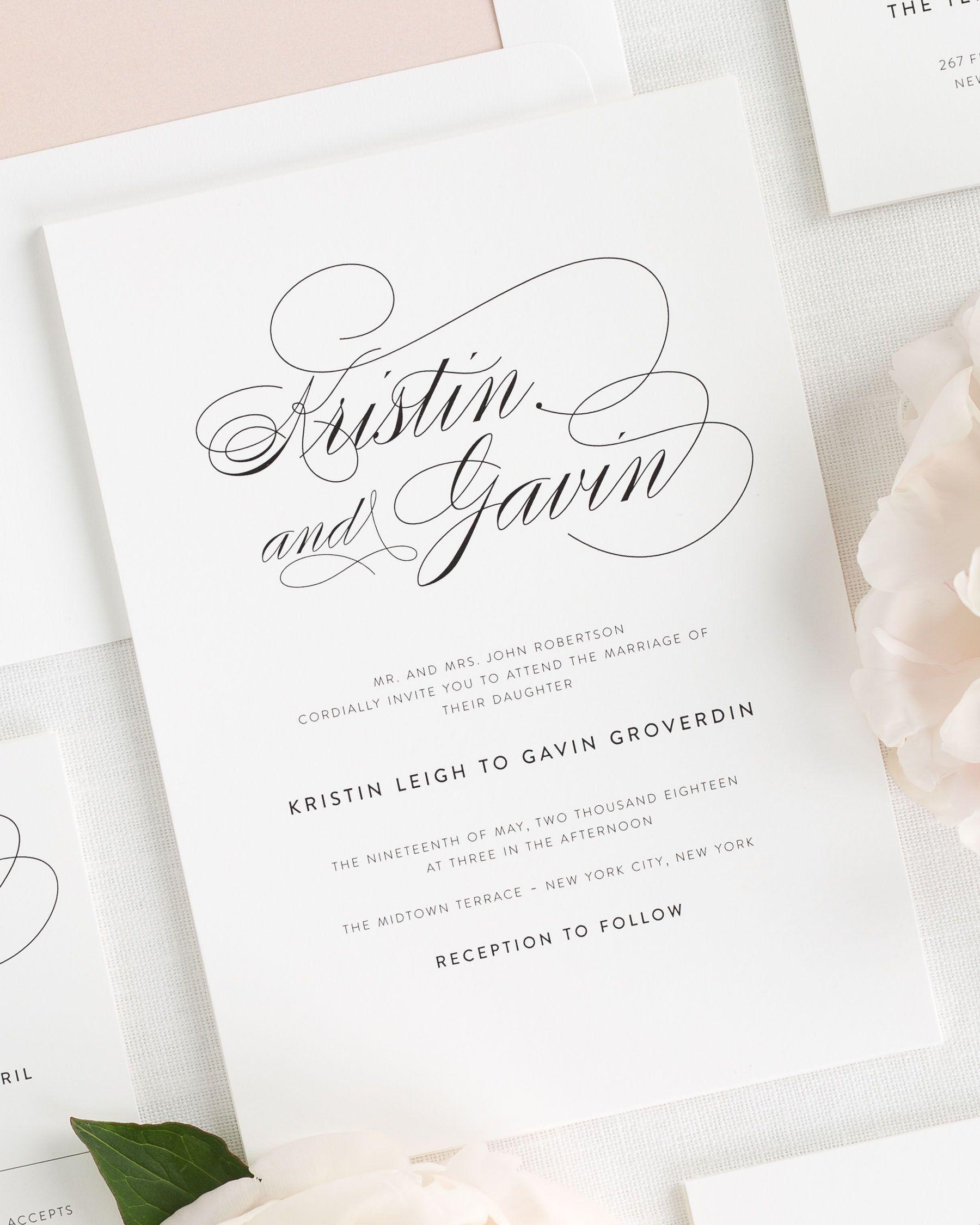 Script Elegance Wedding Invitations Shine Wedding Invitations Wedding Invitation Samples Letterpress Wedding Invitations