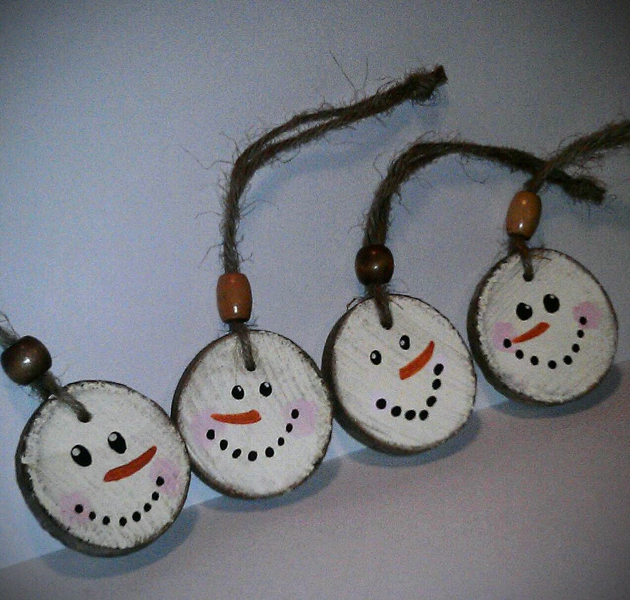 Snowman Christmas Ornament Double Sided Wooden Rustic