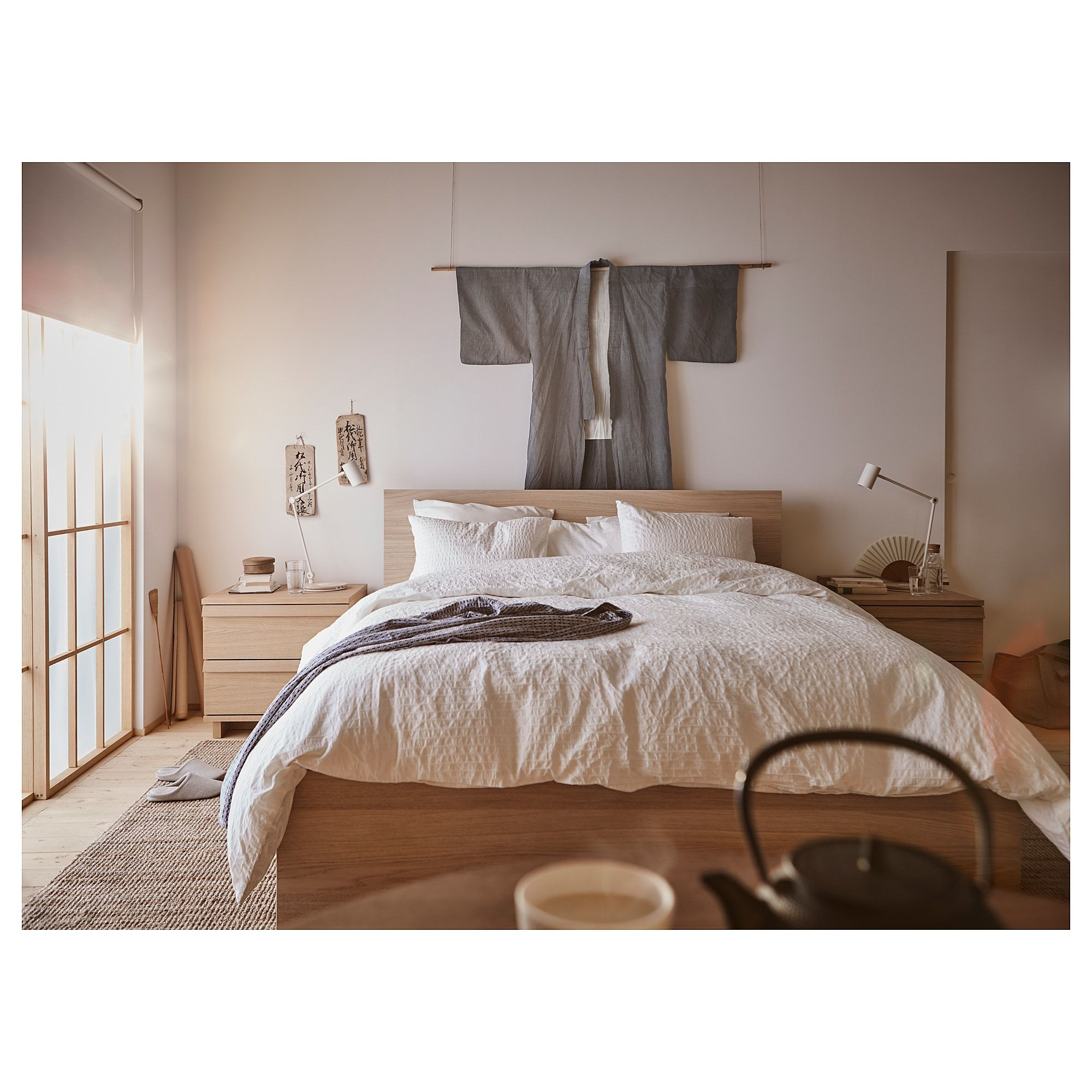 Malm Bed Frame High White Stained Oak Veneer Leirsund Ca