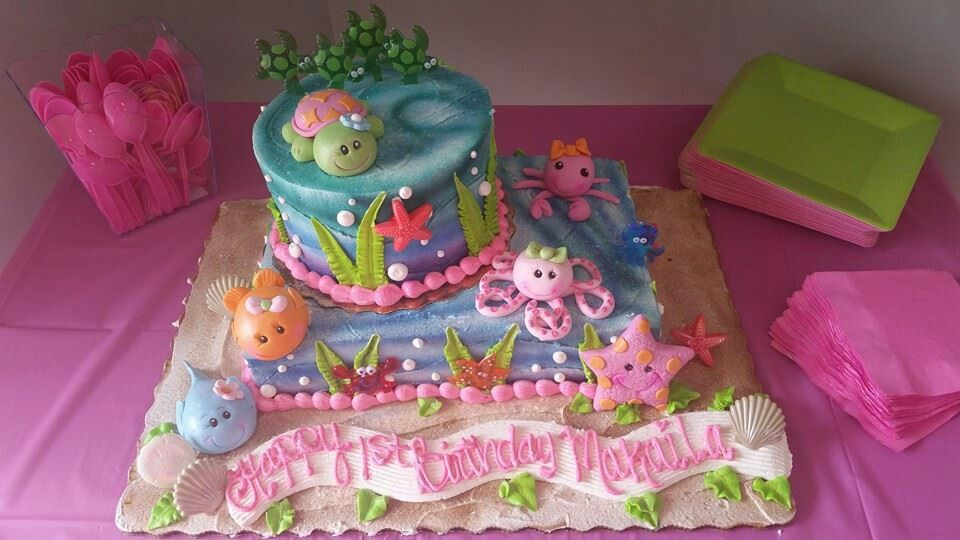 Under the sea 1st birthday cake #publix | Makaila First Bday | Cake ...