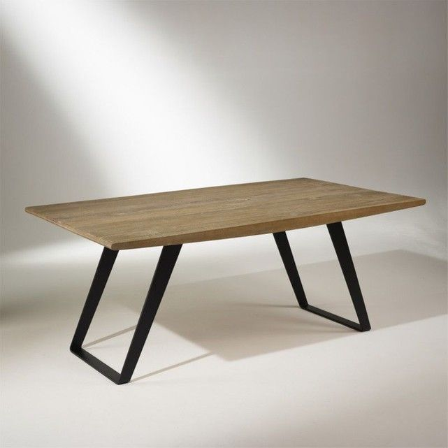 Table plateau chêne massif, pieds métal, 8 à 10 couverts, HECTOR in - Hauteur Table Salle A Manger