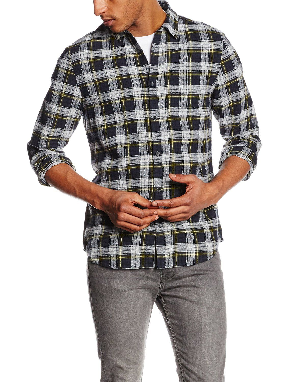 Shirt design new look - New Look Men S Check Long Sleeve Slim Fit Casual Shirt Blue Navy