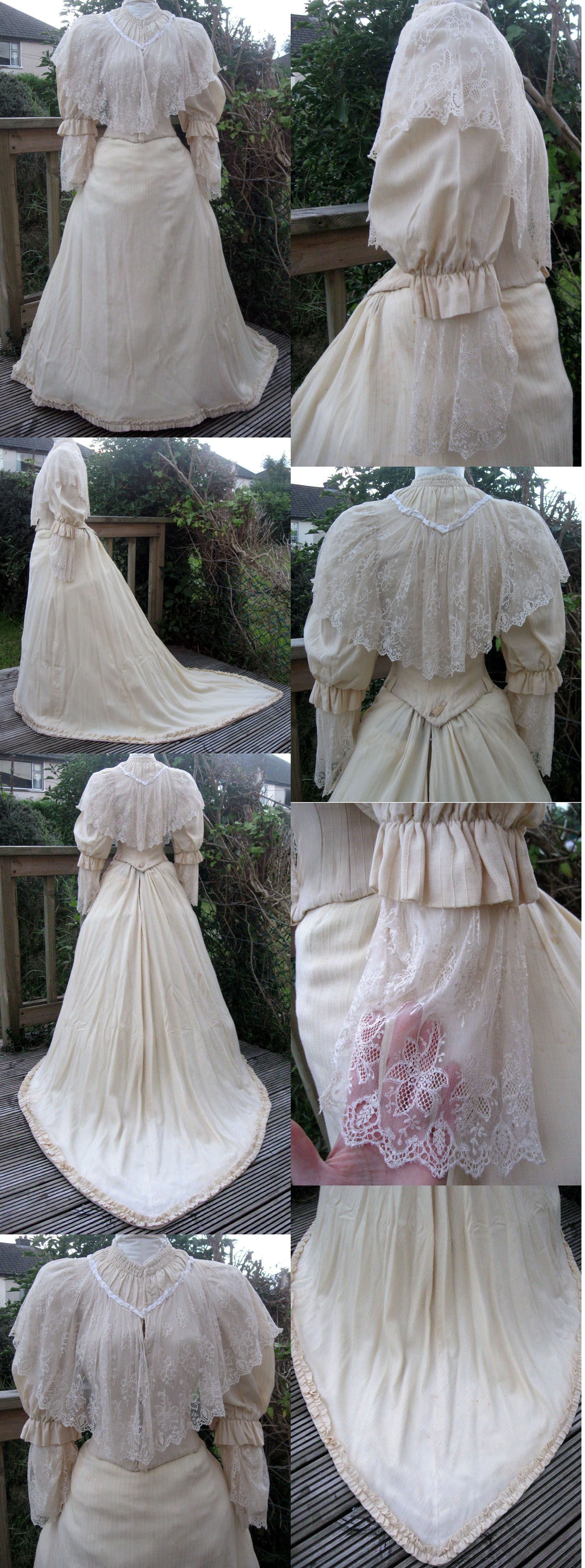 Late Victorian Cream Wool and Lace Trained Winter Wedding
