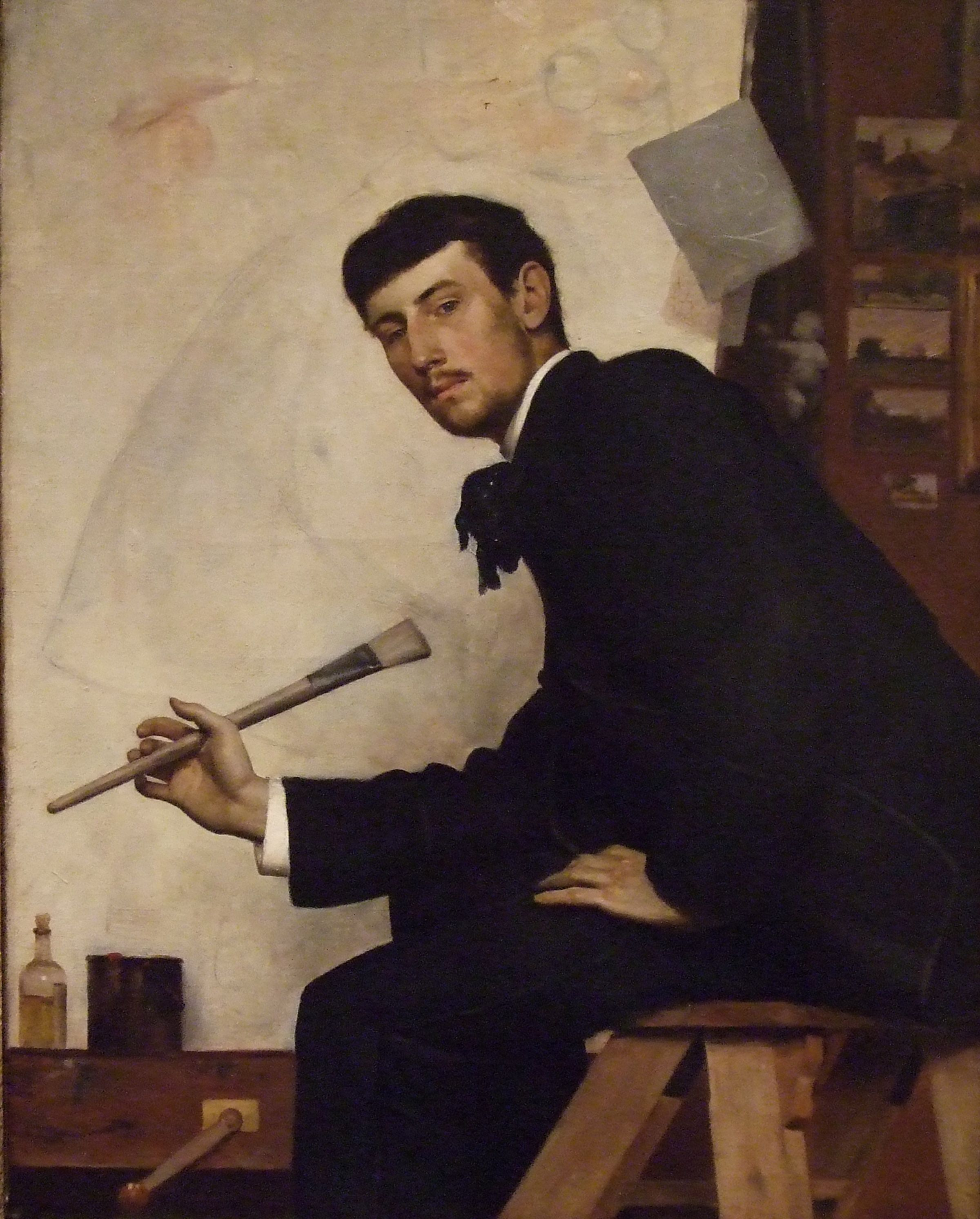 """FABIEN LAUNAY, """"Self-Portrait"""", ca. 1900. Oil on canvas. From the UK  Art Museum Collection."""