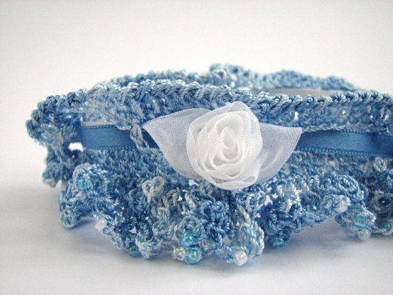 Wedding Garter Crocheted Silk Beaded Yarn Ribbon Tie By