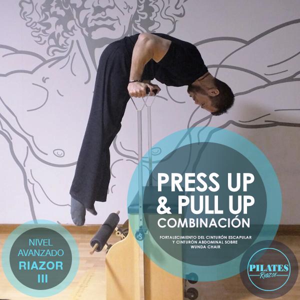 Cápsulas de Ejercicios Riazor  COMBINACIÓN PRESS UP & PULL UP SOBRE WUNDA CHAIR   Este ejercicio es un paso avanzado, buscamos el fortalecimiento del cinturón abdominal, junto al fortalecimiento de todos los músculos que se encuentran arriba de la cintura. En este ejercicio se implican varios grupos de músculos: Triceps, músculo serrato, recto abdominal, transverso abdominal, cinturón escapular y diafragma.