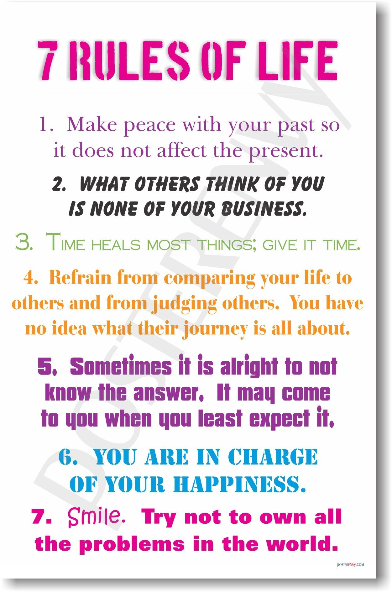 Amazon.com: 7 Rules of Life - NEW Classroom Motivational Poster ...