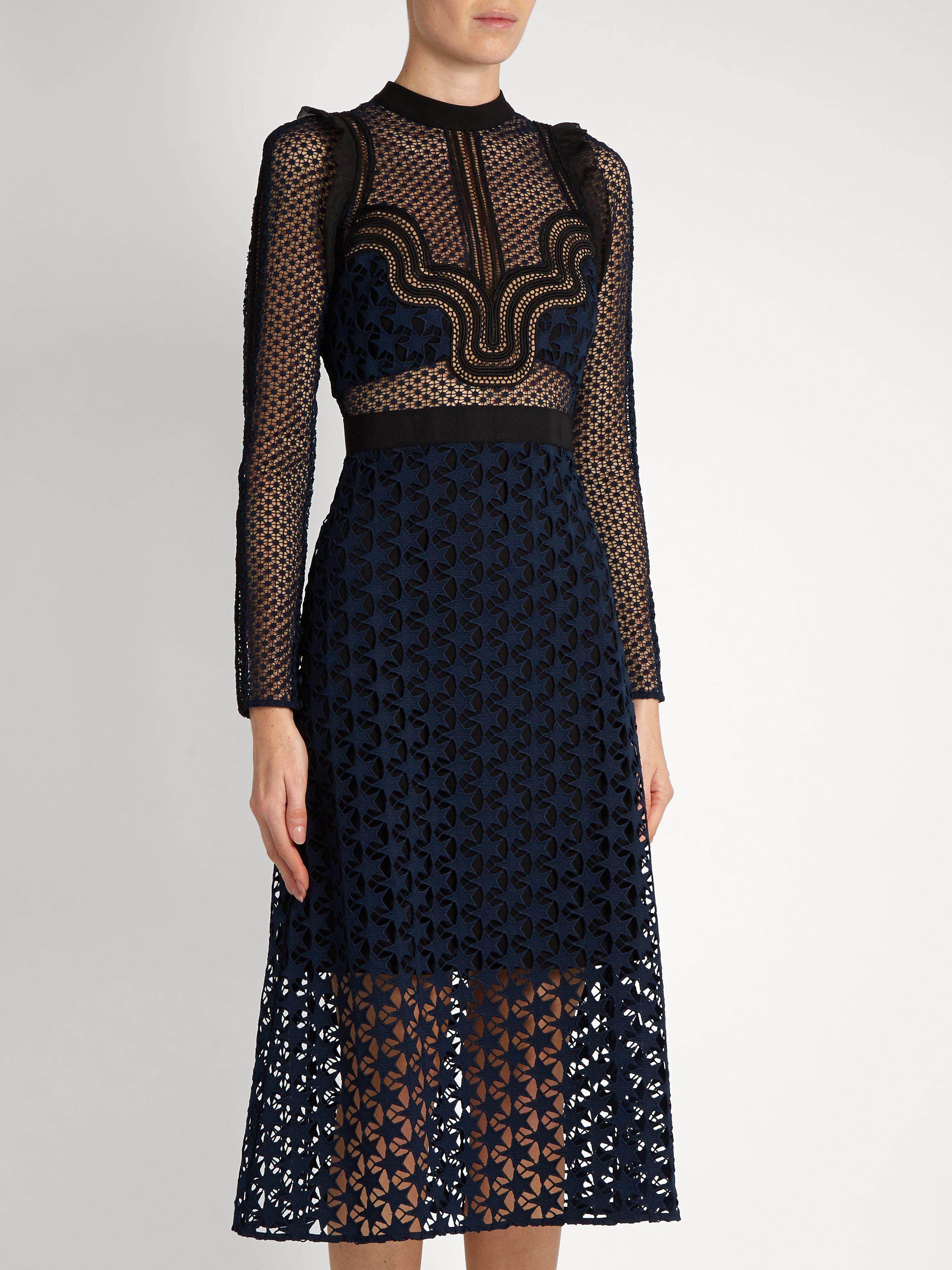 8eb5c11e5b55c Click here to buy Self-portrait Star Repeat lace midi dress at ...