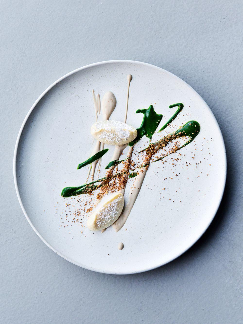 Dried potato, almond, and parsley by chef Matt Orlando of Amass ...