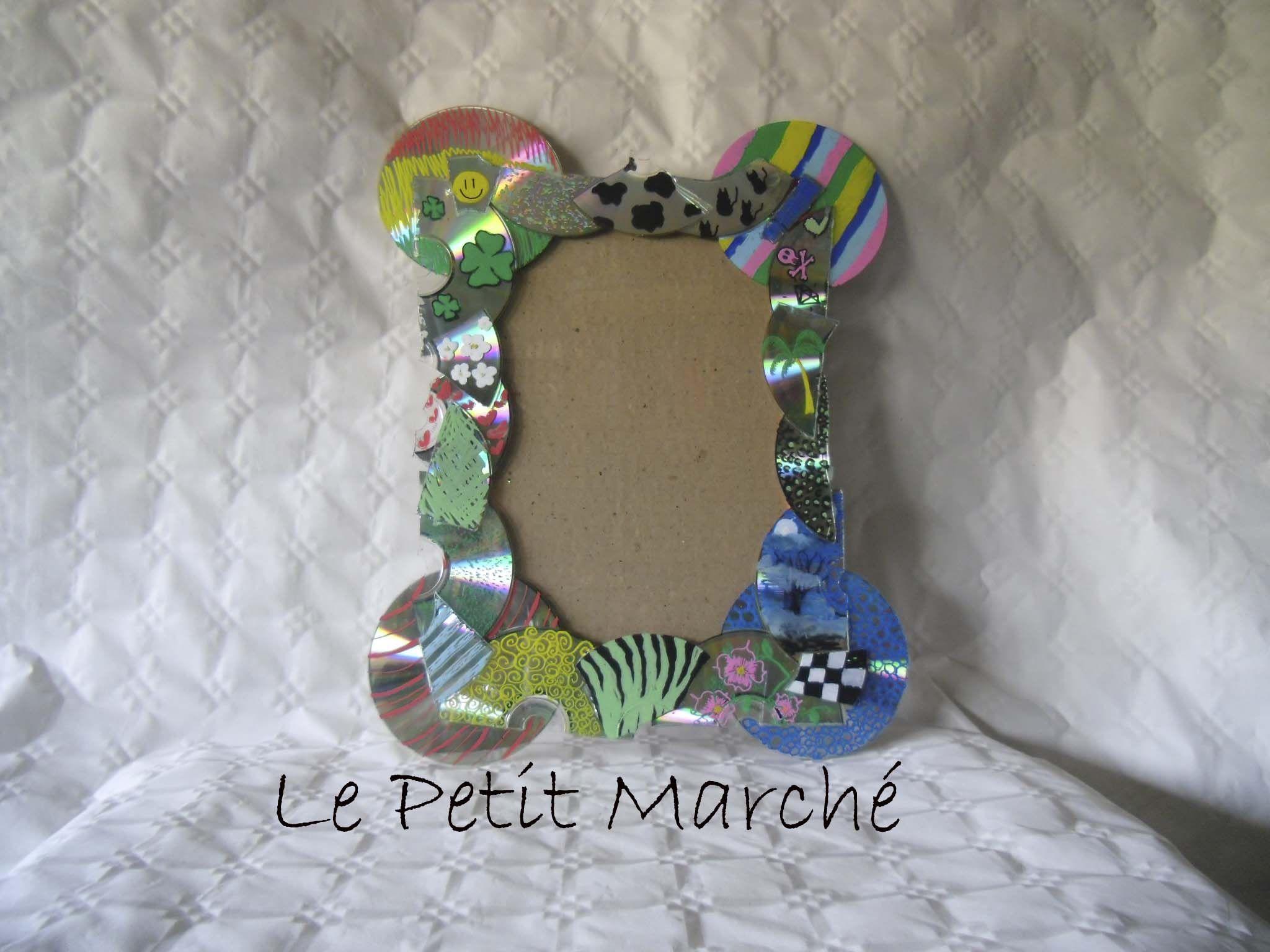 Marco decorado con cds para espejo o portafotos for Marcos decorados para espejos