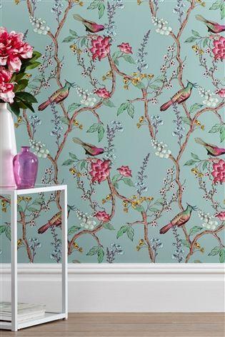 Buy Blue Birds Wallpaper From The Next Uk Online Shop Floral Wallpaper Bedroom Bathroom Wallpaper Birds Bird Wallpaper Bedroom
