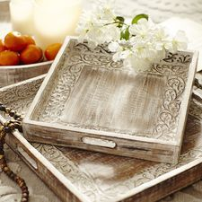 Decorative Ottoman Tray Handcarved White Washed Square Vine Trays  Pier 1 Import Wants