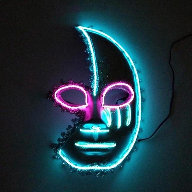 Led Glowing Half Moon Face Mask Halloween Masks Mask Party Carnival Masks