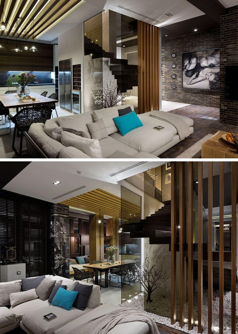 materials like dark brick wood and glass are used in the interior rh pinterest com