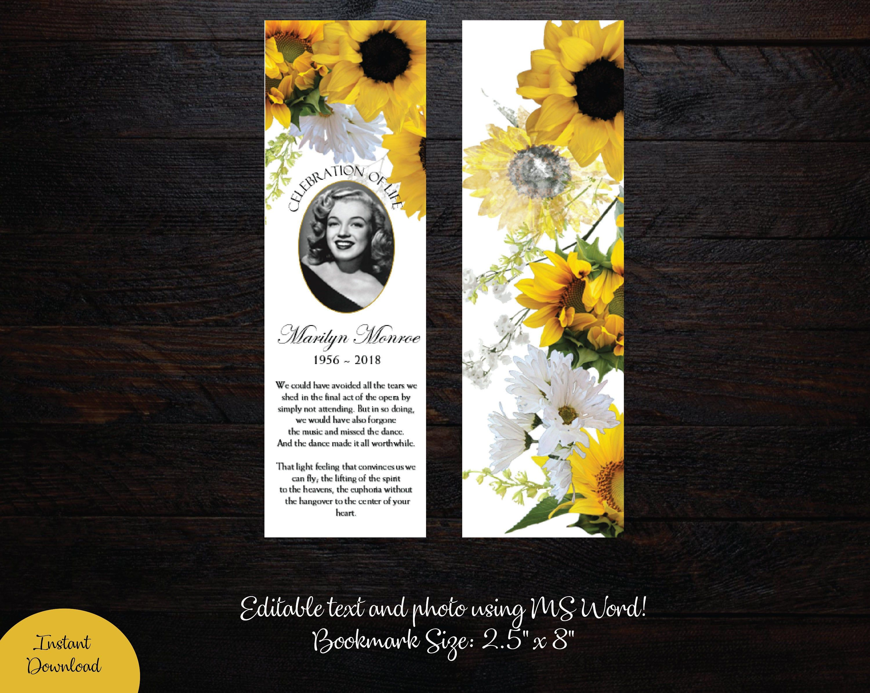 Yellow Sunflowers Funeral Bookmark Template Memorial Etsy In 2021 Bookmark Template Bookmarks Printable Free Printable Bookmarks