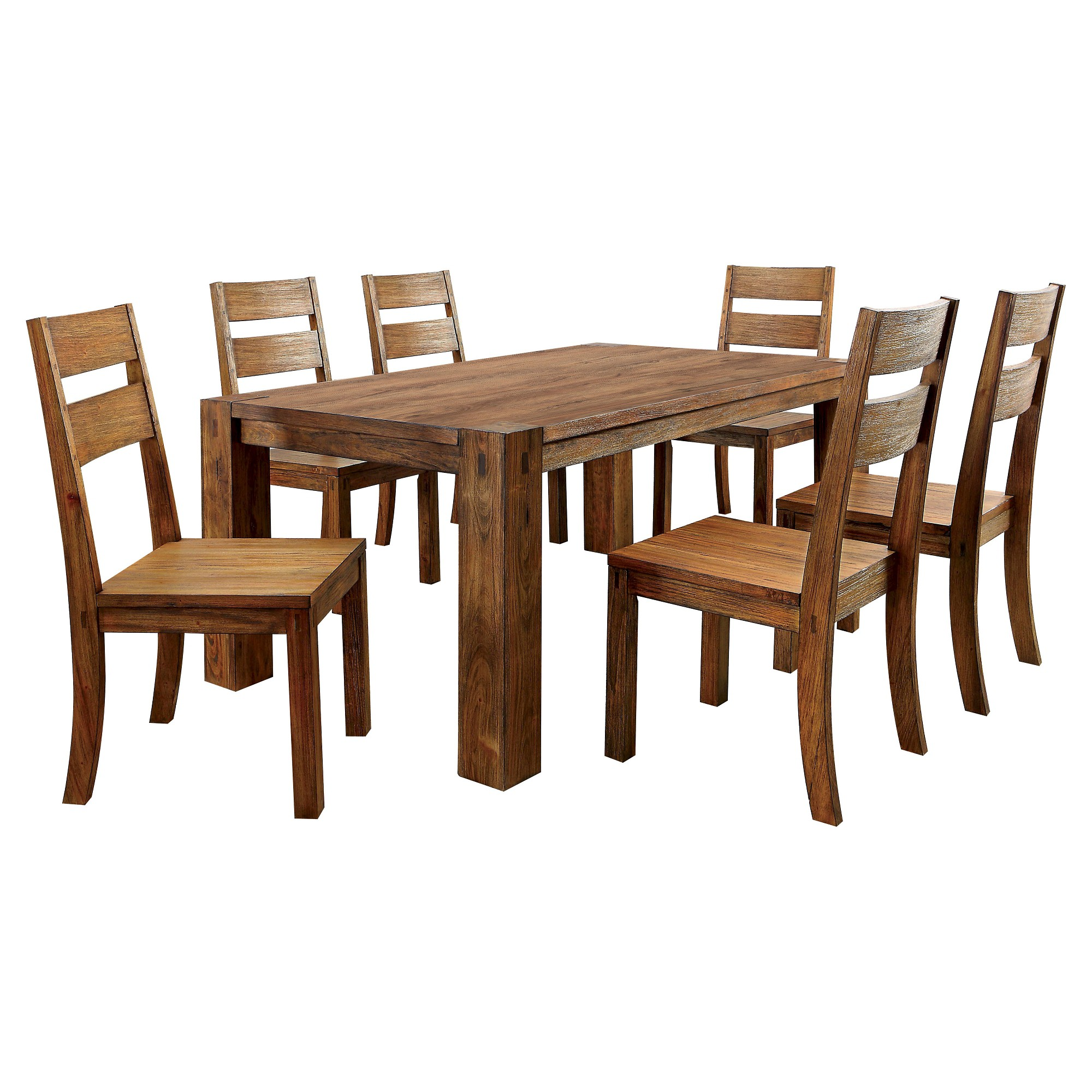 Awe Inspiring Sun Pine 7Pc Sturdy Dining Table Set Wood Dark Oak Dark Gmtry Best Dining Table And Chair Ideas Images Gmtryco