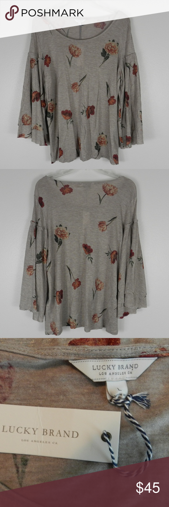 Lucky Brand 3/4 Bell Sleeve Beige/Floral Large NWT NWT