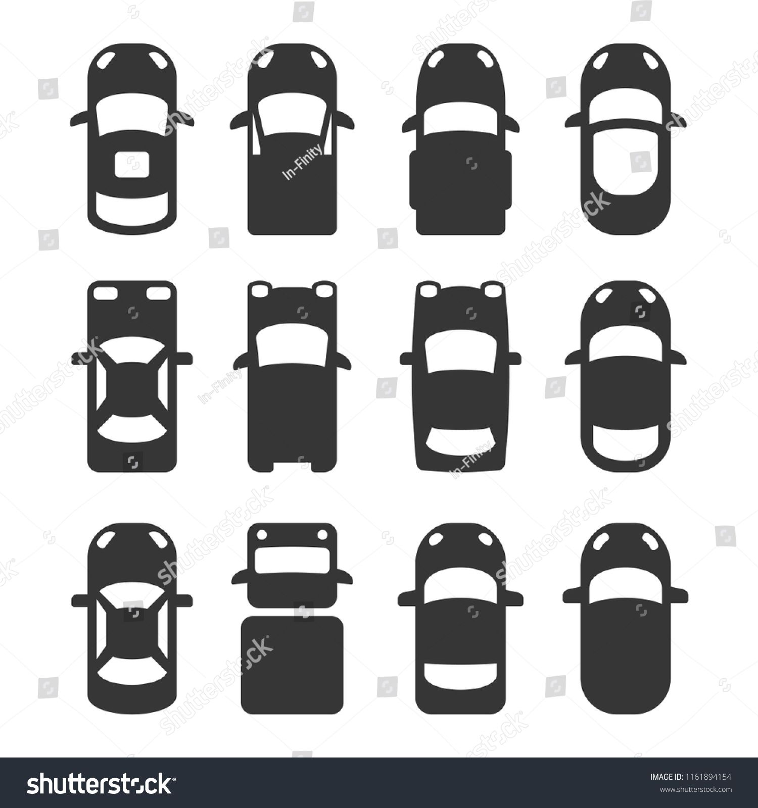 Car Top View Icons Set On White Background Vector Sponsored
