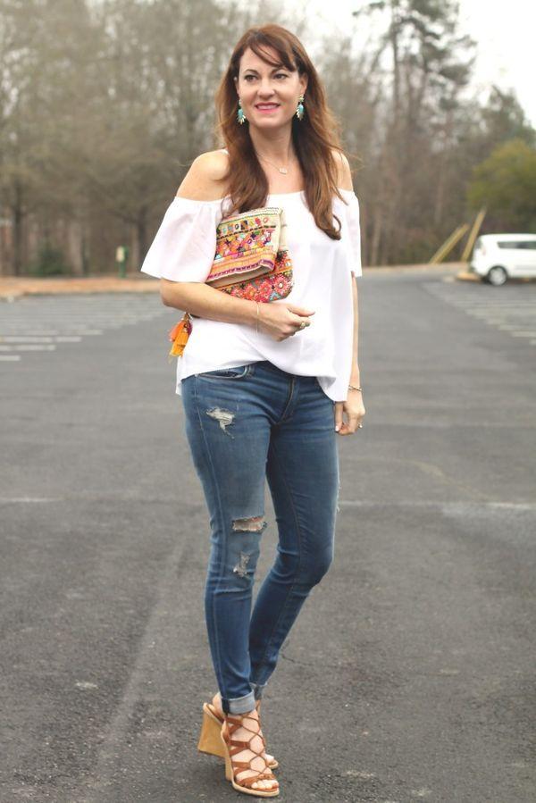 9cdaf8df2c5923 Cute spring outfit idea  Cold shoulder top