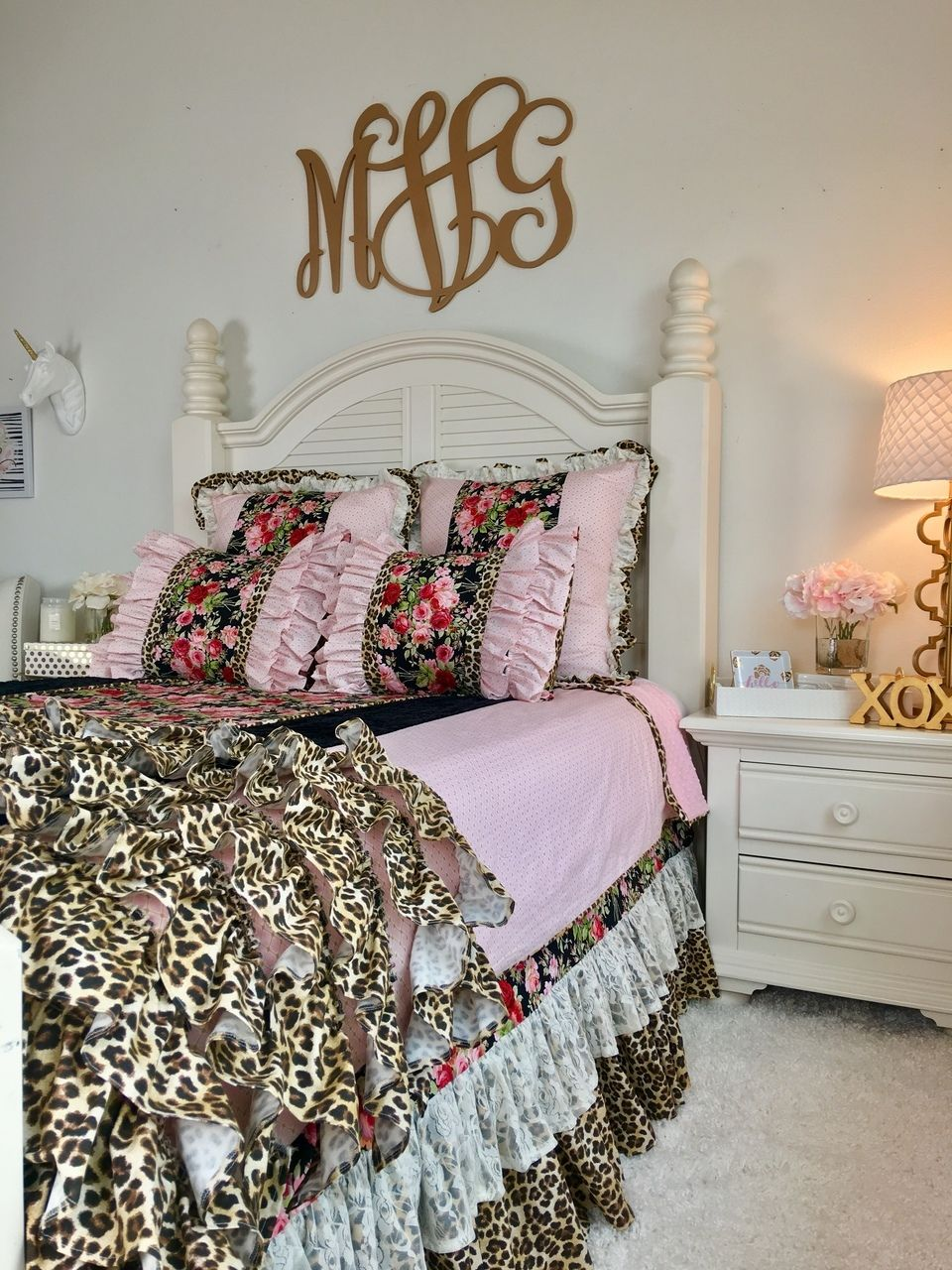 Bedding - Rosey Posy, Baby Pink and Gold, Lace, Black ...