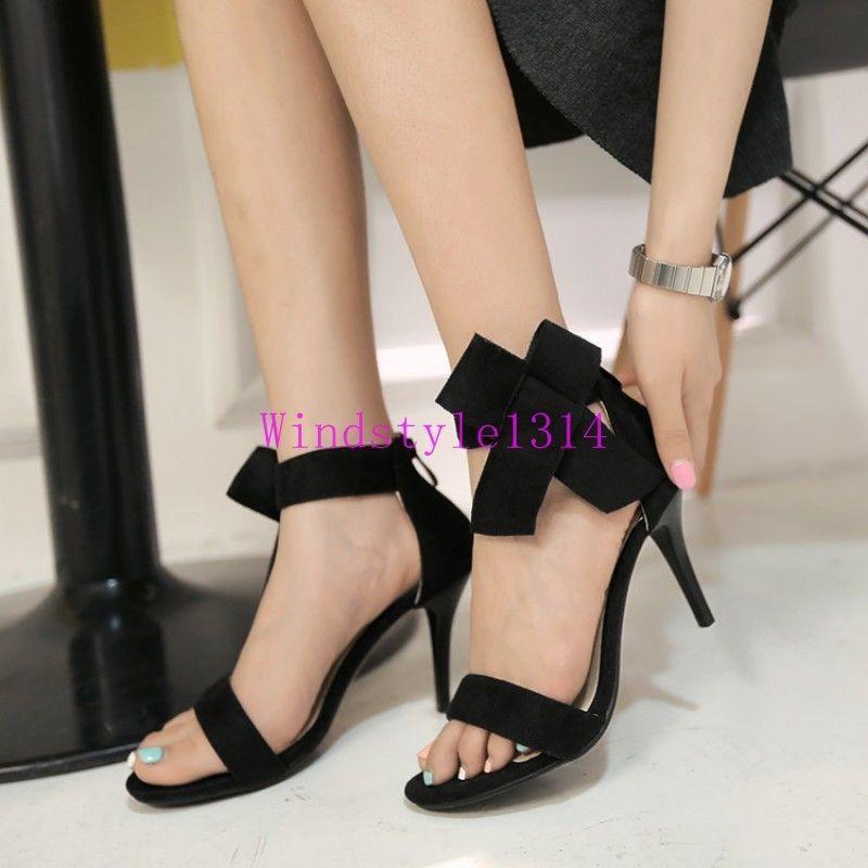 Womens Dress Party Shoes Stilettos High Heel Bowknot Faux Suede Back Zip Sandals