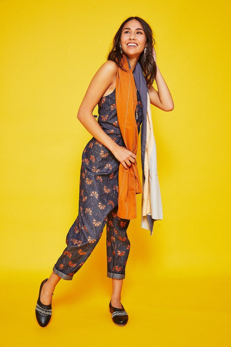 Anchal project neutral patchwork straight scarf ethical