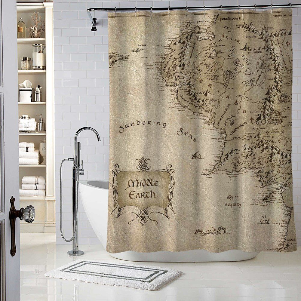 Wlark Custom Best Middle Earth Shower Curtain Waterproof Mildew Resistant Polyester Fabric Bathroom With