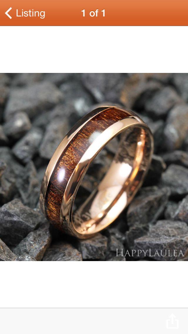 Mens Wedding Band Koa Wood Rose Gold Mens Wedding 7mm With