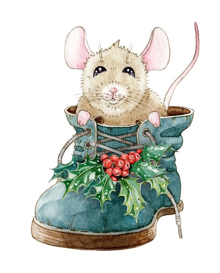Иллюстрация акварели смешной маленькой мыши, сидя в ...