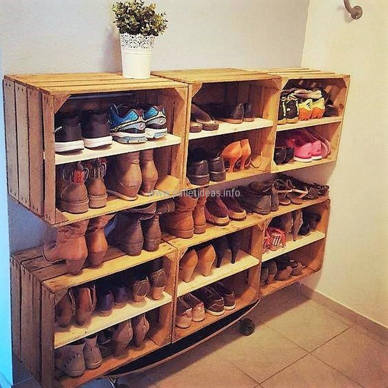 Mind Blowing Recycled Pallet Creations Diy Shoe Rack Pallet