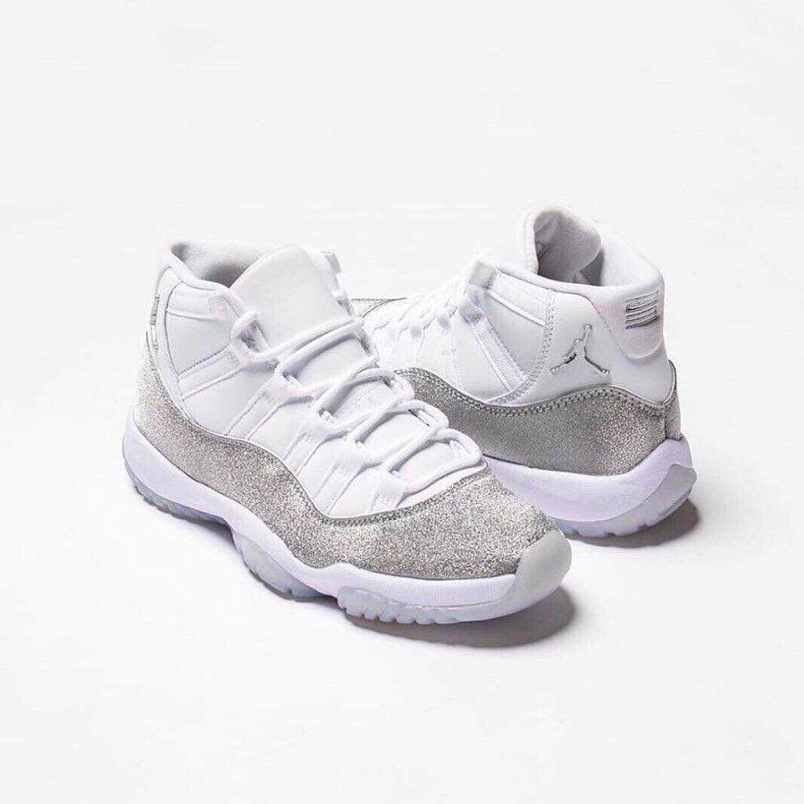 Jordan 11 Retro White Metallic Silver In 2020 Sneakers Fashion Retro Shoes Jordan 11