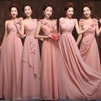 c645526a78 2015 new 5 styles long chiffon old rose pink blush bridesmaid dress ...