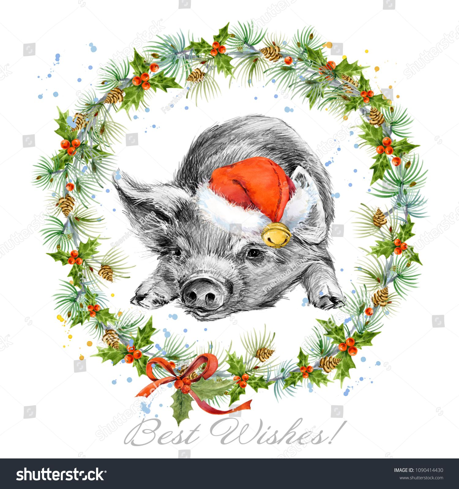 Year of the pig. watercolor hand drawn pigglet illustration. Winter ...