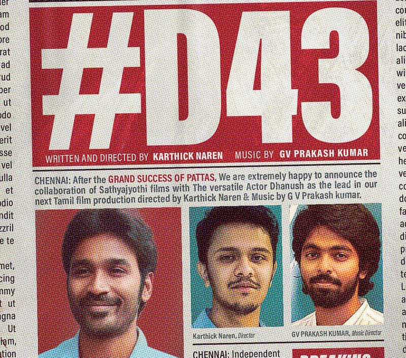 Dhanush 43 to be helmed by Karthick Naren and bankrolled by Sathya Jyothi Films