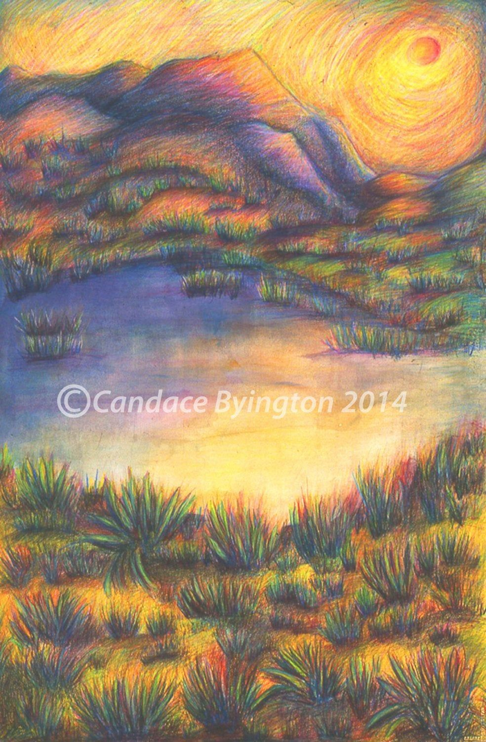 Mixed Media Drawing Colorful Sand Dune At Sunset Landscape 8x12