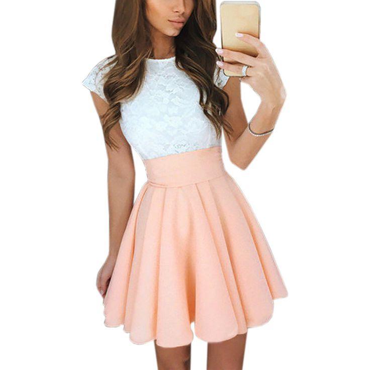 $ 22.90 Lace Dress Kawaii Beach Women's Summer Cute Flare Dresses 2017 Mini A Line ... $ 22.90