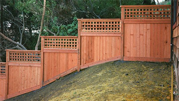 Marin S Hillside Fence Contractor With Images Sloped Backyard