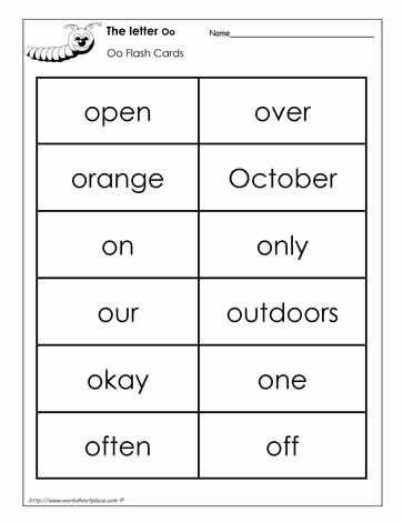 Word Wall Words for the Letter O kindergarten Pinterest