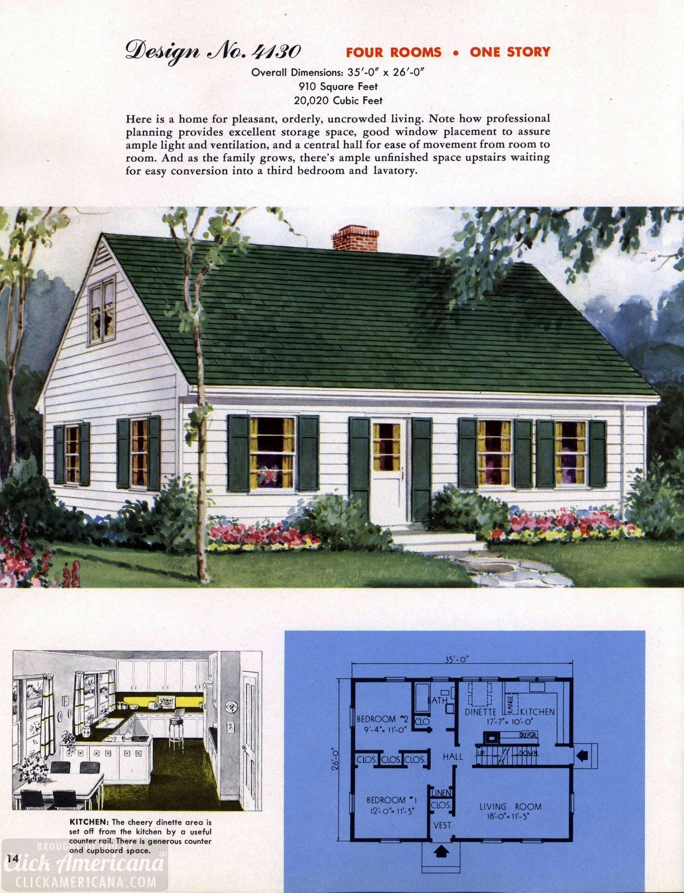 Classic House Plans From 1955 50s Suburban Home Designs At Click Americana 15 Classic House Home Design Floor Plans Vintage House
