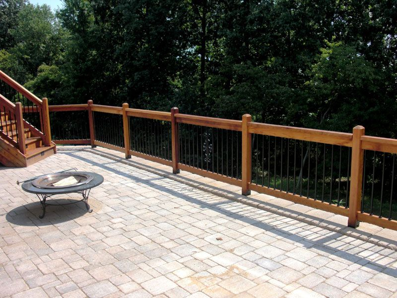 Elegant Iron Deck Railing | Nice Patio Railings Outdoor With Fireplace On Stone  Patio
