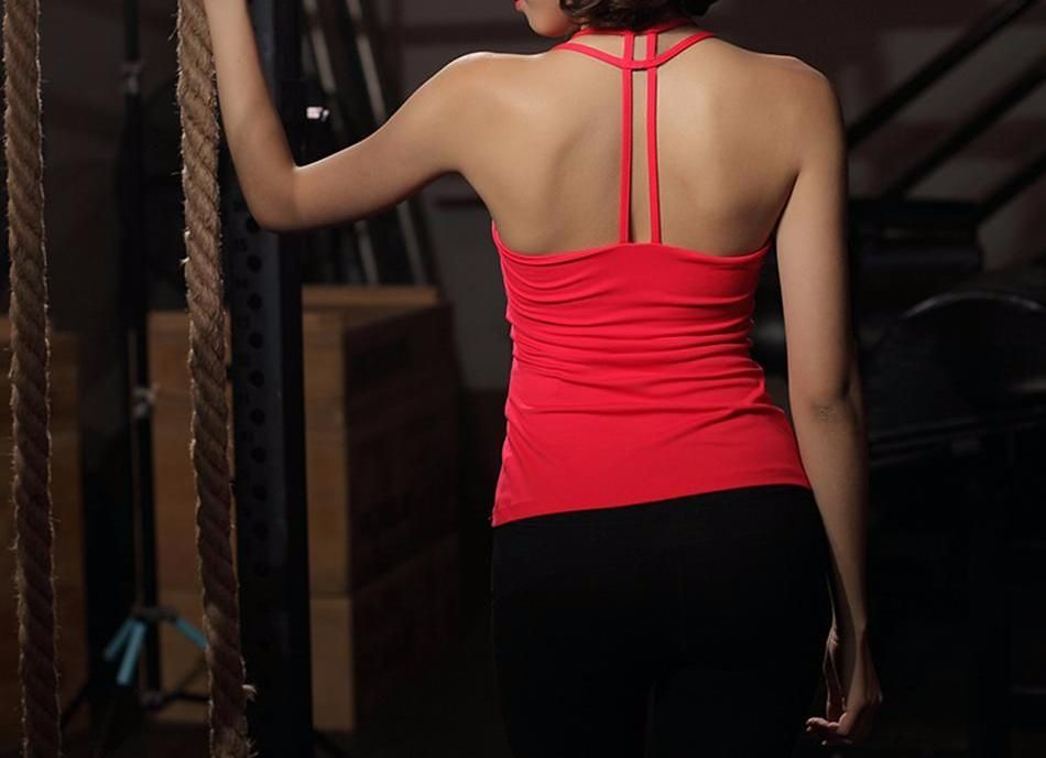 49dae857a04f2 Solid Strappy Back Skinny Yoga Tank Tops Women s Sleeveless Pink Padded Bra  Sports Top