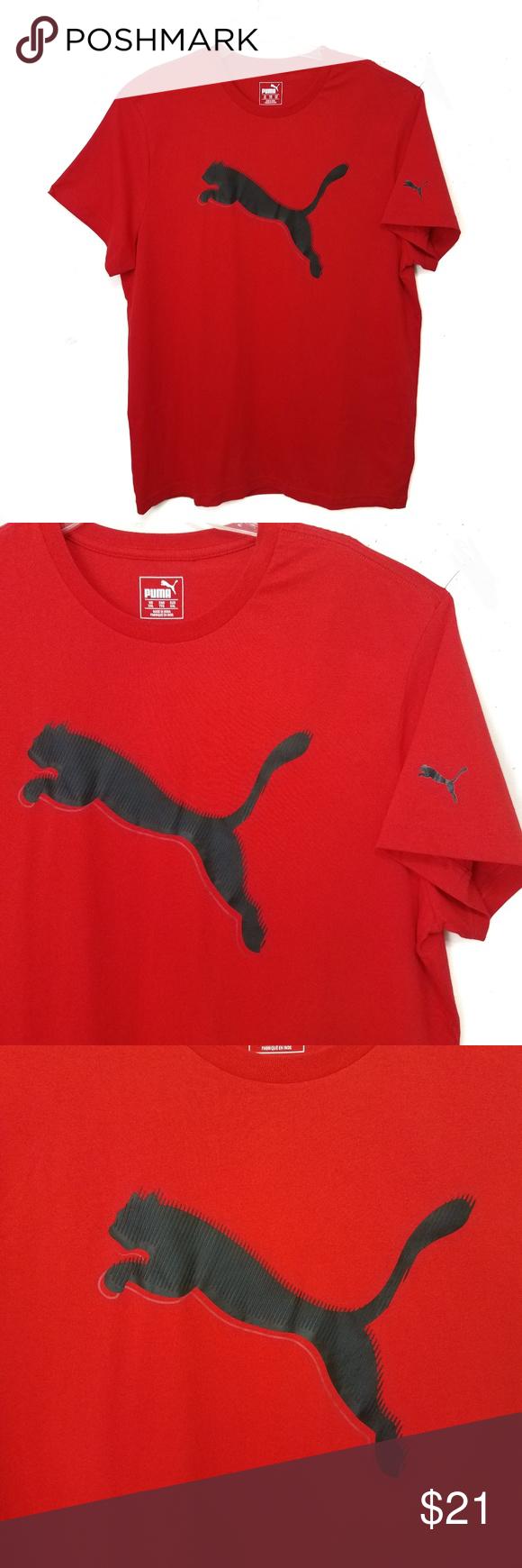 Nwt Puma T Shirt Red Slash Cat Sz 2x Puma Shirts Puma Tshirt Cotton Tshirt