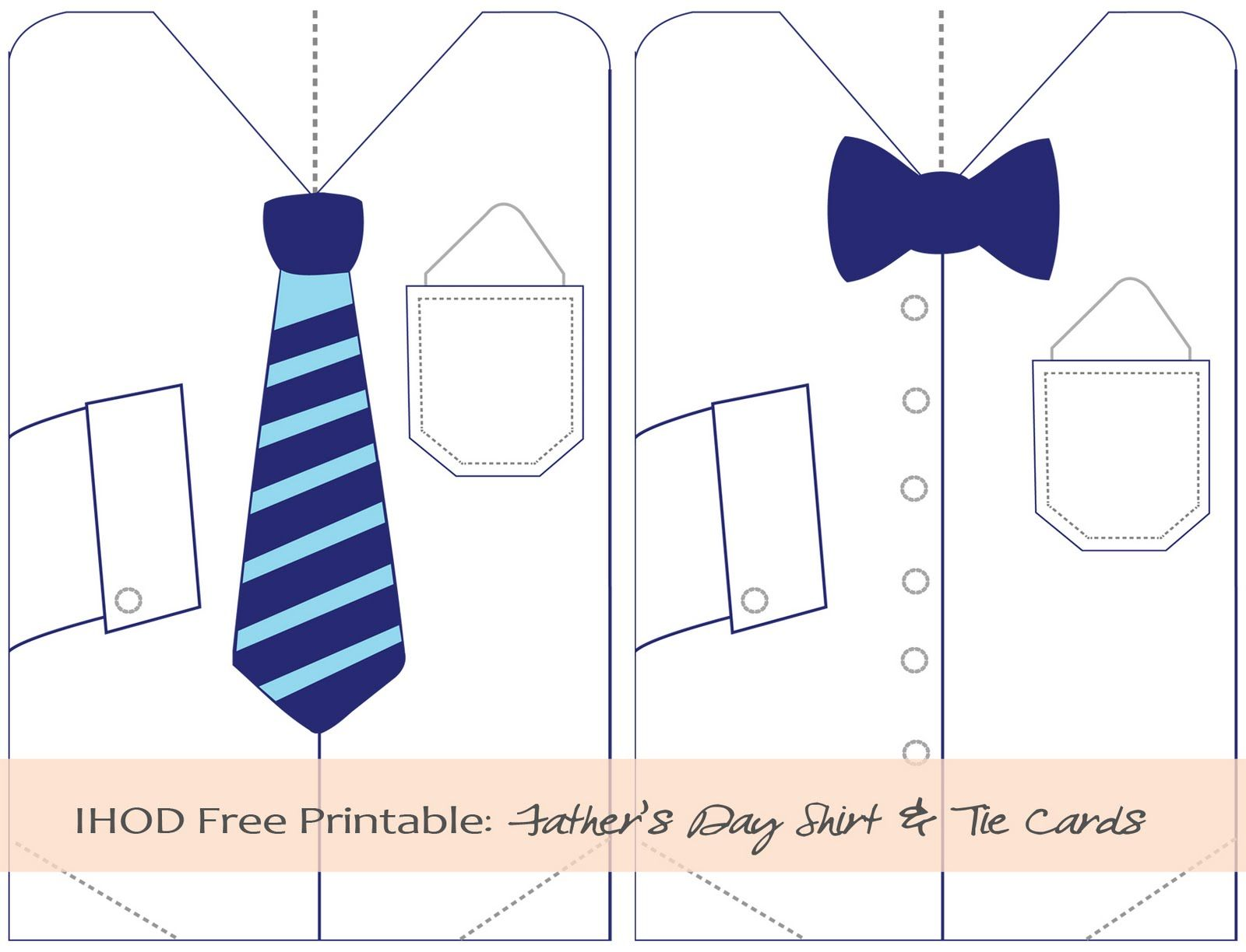 photo regarding Printable Shirts named Do it yourself: Cost-free Printable Fathers Working day Blouse Tie Card Youngsters