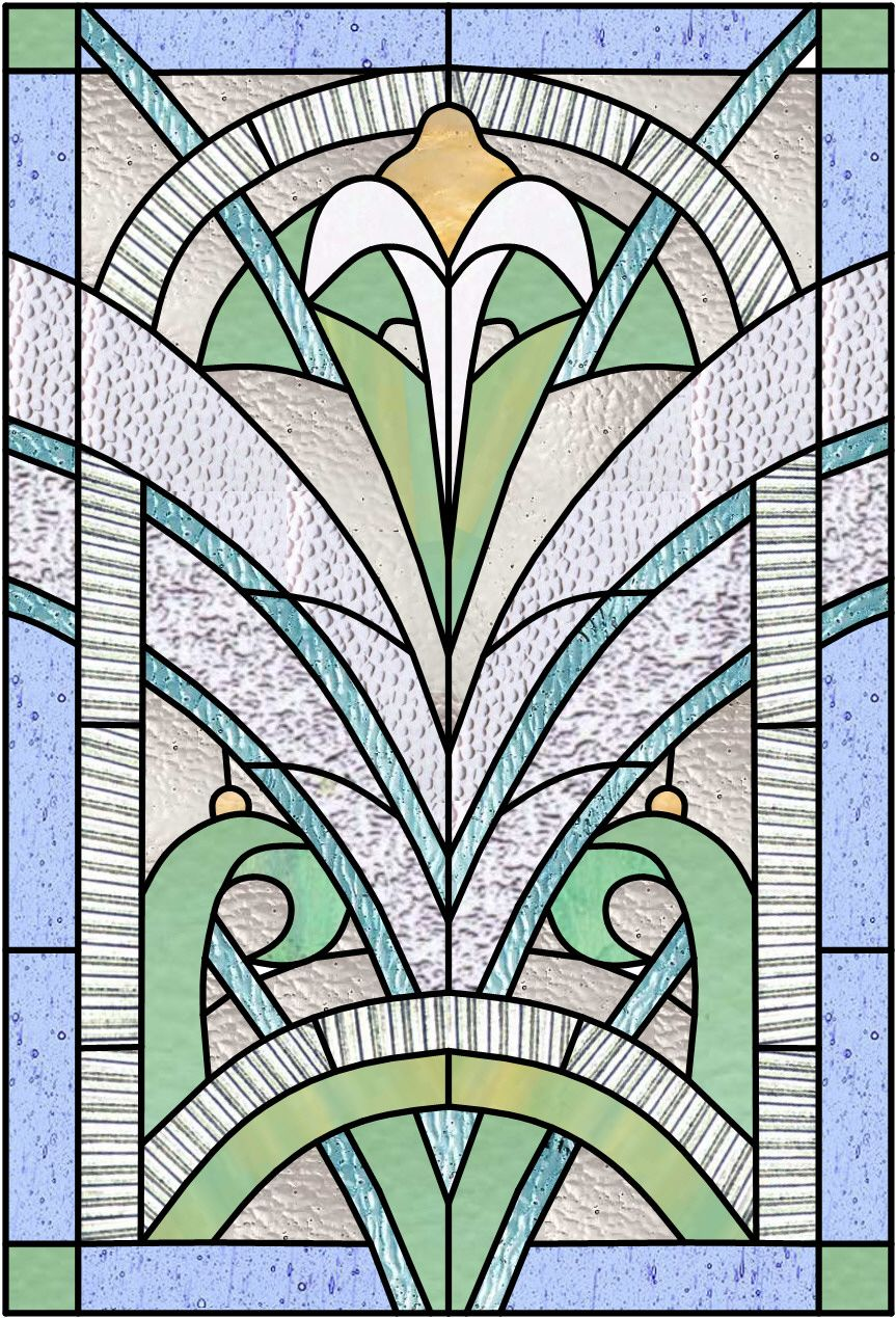 Art deco stained glass panel stained glass windows for Art deco interior and panel designs