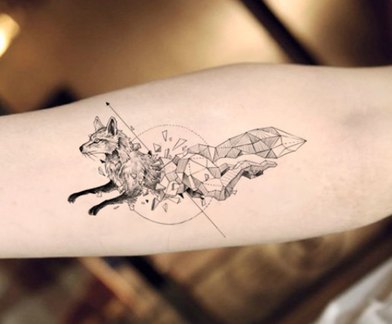 Geometric Fox Tattoo With Images Geometric Animal Tattoo Fox Tattoo Design Fake Tattoos