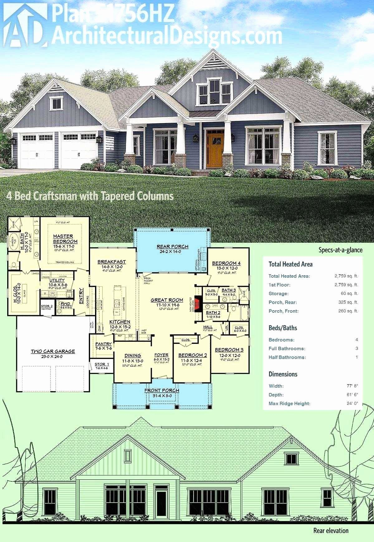 4 Bedroom Craftsman House Plans Awesome Screet Single Story Small Farmhouse Plans In 2020 Craftsman House Plans Craftsman Style House Plans Craftsman House