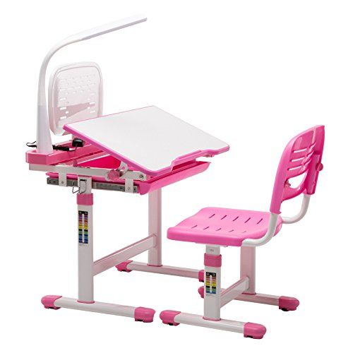 Mecor Childrenu0027s Desk Chair Set Height Adjustable Kids Student School Study  Table With Lamp,Pencil Case,Bookstand,Pink
